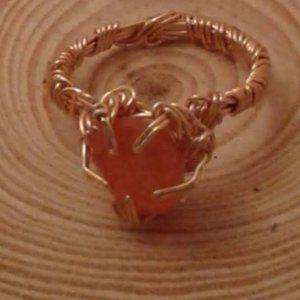 Carnelian gemstone copper ring